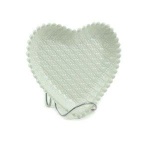 Prato de Cerâmica Coração em Relevo Branco
