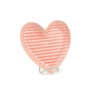 Prato de Cerâmica Coração Frizado Rosa