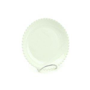 Prato de Cerâmica Redondo Bolinhas Branco
