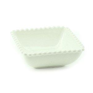 Bowl de Cerâmica Quadrado Bolinhas Branco