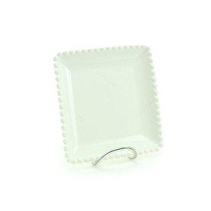 Prato de Cerâmica Quadrado Bolinhas Branco