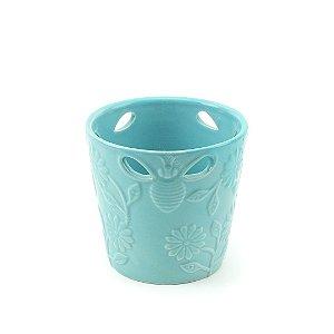 Vaso de Cerâmica Vazado Abelha e Flor Azul