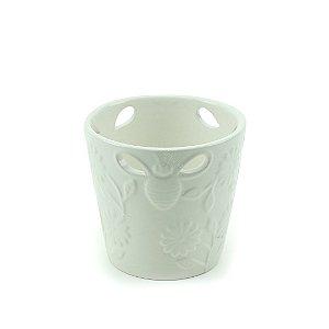 Vaso de Cerâmica Vazado Abelha e Flor Branco