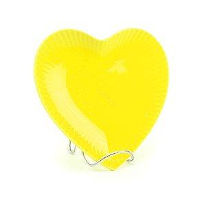Prato de Cerâmica Coração Amarelo
