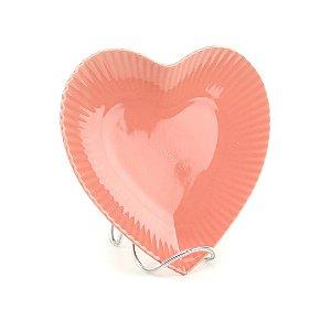 Prato de Cerâmica Coração Rosa