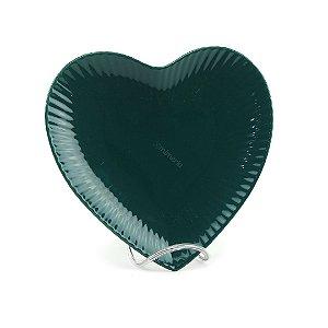 Prato de Cerâmica Coração Verde Escuro