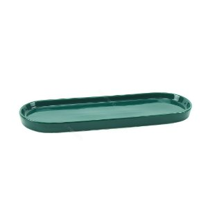Bandeja de Cerâmica Oval Verde Escuro