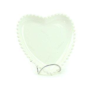 Prato de Cerâmica Coração Bolinhas Branco