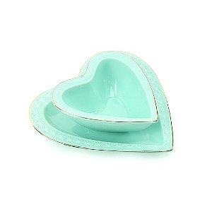 Jogo de Prato e Bowl de Cerâmica Coração Verde