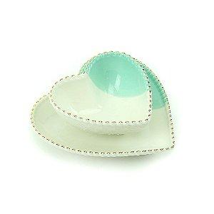 Jogo de Prato e Bowl de Cerâmica Coração Branco e Verde