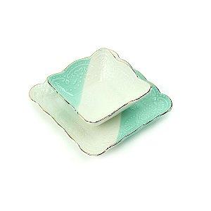 Jogo de Prato e Bowl de Cerâmica Quadrado Branco e Verde