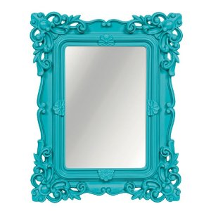 Espelho Decorativo Rococó Turquesa 25x30