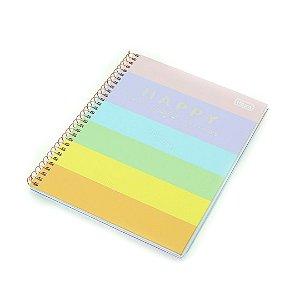 Caderno Colegial Happy Color 80 Folhas Miolo Colorido