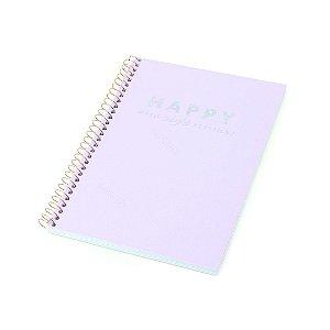 Caderno Colegial Happy Lilás 80 Folhas