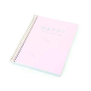 Caderno Colegial Happy Rosa 80 Folhas