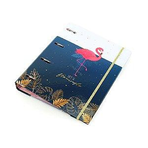 Fichário Argolado com Elástico Aloha Flamingo