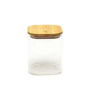 Pote Hermético Quadrado com Tampa de Bambu 1200 ml