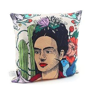 Capa de Almofada Frida Kahlo Cacto e Flor Colorida