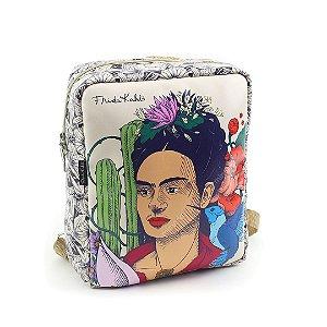 Bolsa Mochila Estampada Frida Kahlo Cacto e Flor