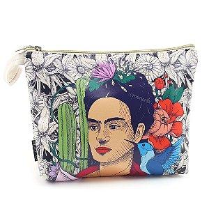 Necessaire de Viagem Grande Estampada Frida Kahlo Cacto e Flor
