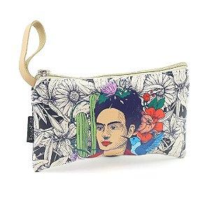 Necessaire Estampada Pequena Frida Kahlo Cacto e Flor