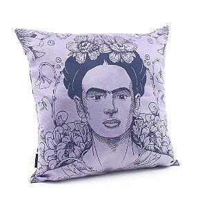 Capa de Almofada Frida Kahlo Flor de Maracujá Lilás
