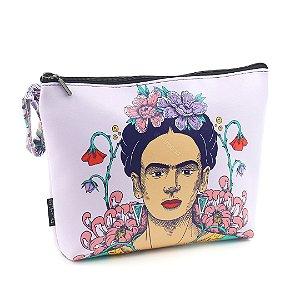 Necessaire de Viagem Grande Estampada Frida Kahlo Flor de Maracujá
