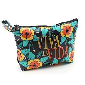 Necessaire de Viagem Grande Estampada Frida Kahlo Viva La Vida