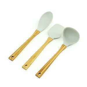 Kit de Utensílios de Silicone e Bambu Candy Color 3 Peças Cinza