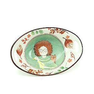 Tigela de Cerâmica Oval a Menina, o Ganso e o Gato