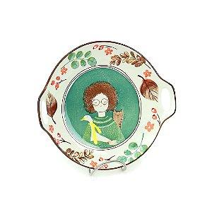 Tigela de Cerâmica Redonda a Menina, o Ganso e o Gato