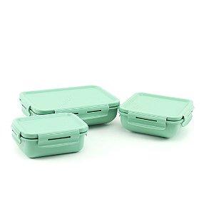 Kit Completo 3 Marmitas Herméticas de Plástico Verde