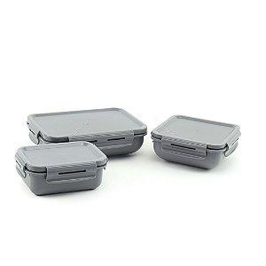 Kit Completo 3 Marmitas Herméticas de Plástico Chumbo