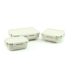 Kit Completo 3 Marmitas Herméticas de Plástico Bege