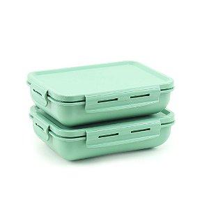 Kit 2 Marmitas Herméticas de Plástico Verde Retangular
