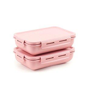 Kit 2 Marmitas Herméticas de Plástico Rosa Retangular