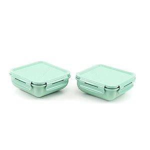Kit 2 Marmitas Herméticas de Plástico com Divisória Verde Quadrada