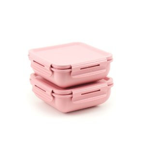 Kit 2 Marmitas Herméticas de Plástico com Divisória Rosa Quadrada