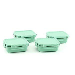 Kit 4 Mini Marmitas Herméticas de Plástico Verde Retangular