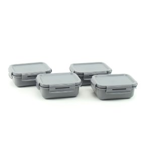 Kit 4 Mini Marmitas Herméticas de Plástico Chumbo Retangular