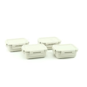 Kit 4 Mini Marmitas Herméticas de Plástico Bege Retangular