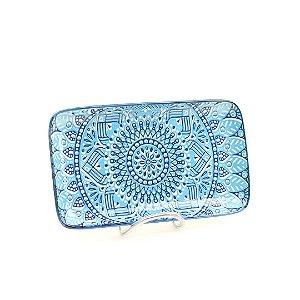 Bandeja em Cerâmica Mandala Azul