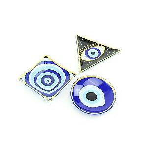 Conjunto de 3 Pratinhos de Vidro Olho Grego Geométricos