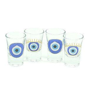Conjunto de 4 Copos de Dose Olho Grego