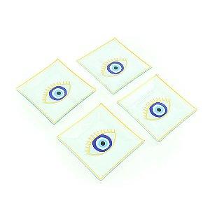 Conjunto de 4 Petisqueiras de Vidro Quadradas Olho Grego