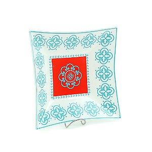 Travessa Quadrada de Vidro Estampada Flores Azul e Vermelha