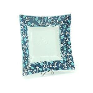 Travessa Quadrada Estampada Flores Azuis