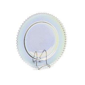 Prato Raso de Cristal de Chumbo Pearl Rainbow Furta Cor Bolinhas