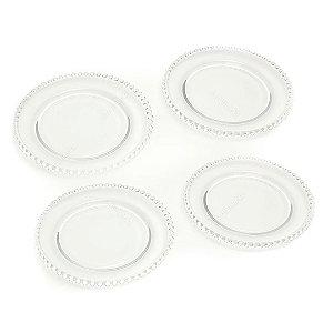 Conjunto com 4 Pratos de Sobremesa de Cristal de Chumbo Pearl Clear Bolinhas