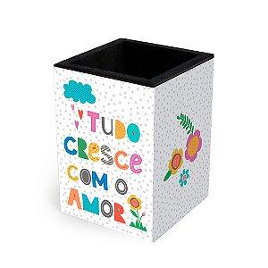 Porta-Lápis Decorado Frases Coloridas